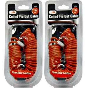 16-foot coiled dog tie-out cables