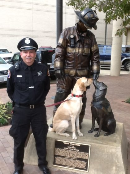 Officer Jack Barba and K9 Zoe at the National Fire Dog Monument in Washington DC