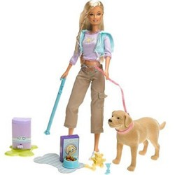 Caucasian Barbie and Tanner dog.