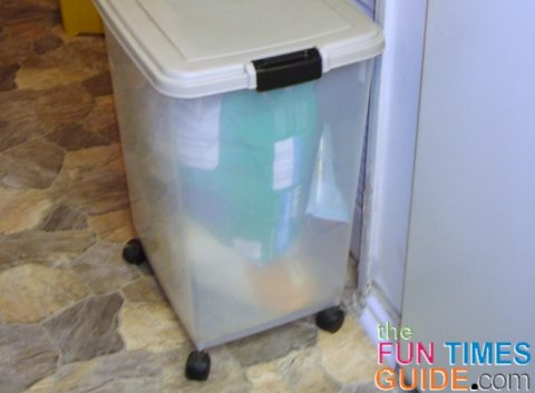 Our dog food storage container is useful both at home, and on the go.