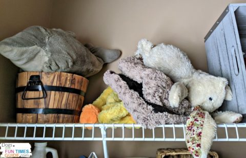 These are the plush dog toys that I need to sew because they have small holes in them and the stuffing is falling out.