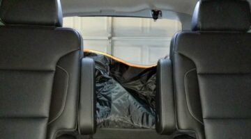 This is what it looks like when I do NOT remove the iBuddy dog cargo cover - I just put the 2nd row seats back into their upright position. Not bad...