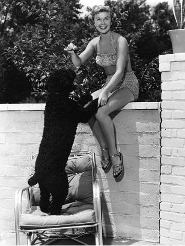 Doris Day with her dog, Mrs. Mike.
