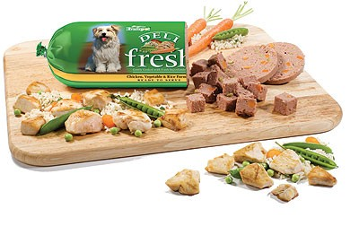 Freshpet makes deli fresh food for dogs in the refrigerator section of the pet food aisle.