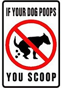 'If Your Dog Poops You Scoop' yard sign.