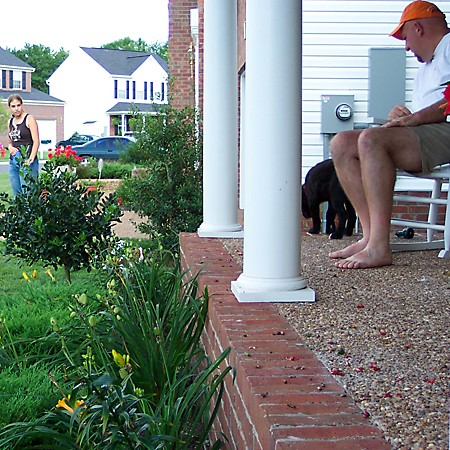 Jim is watching Destin - who wants to jump off the porch.