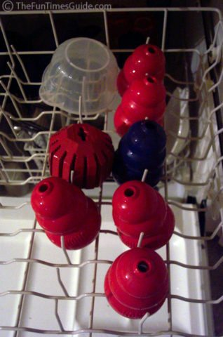 Cleaning Kong dog toys in the dishwasher USED to be my primary method because it's so easy. But since I've noticed some of the rubber starting to deteriorate, I now hand wash them a lot of times instead.