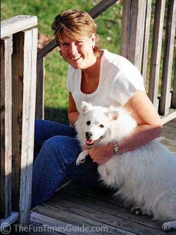 This is me with my second American Eskimo dog, Jersey.