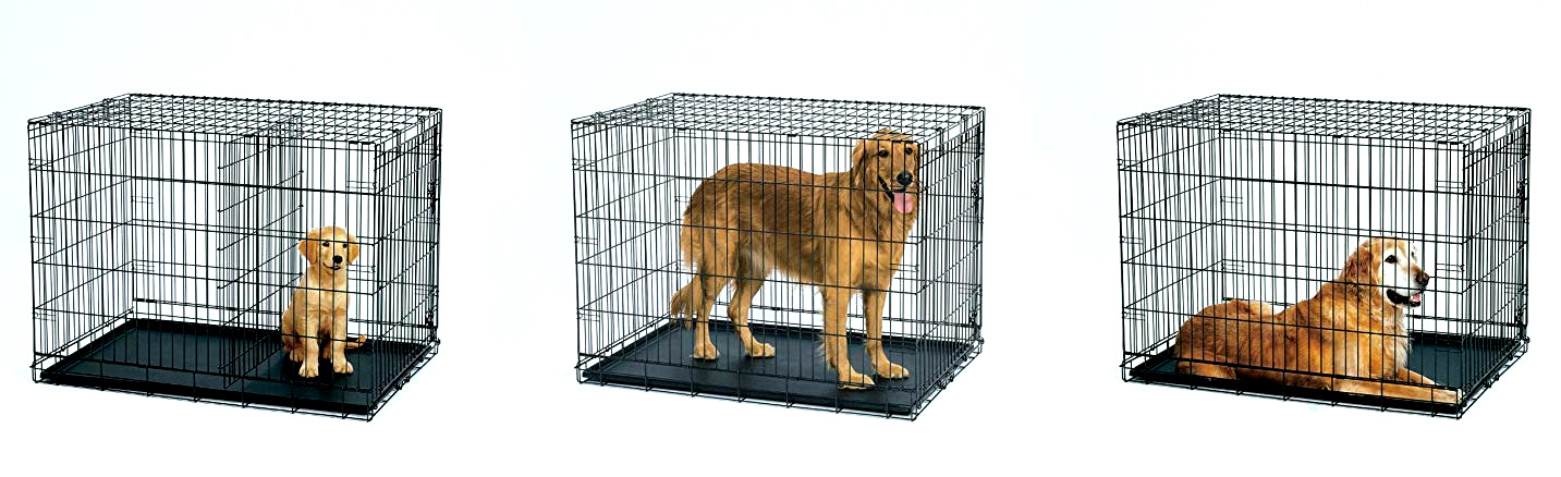 This heavy-duty Midwest dog crate grows with your dog and lasts forever -- thanks to the removable metal wall divider and floor pan liner!