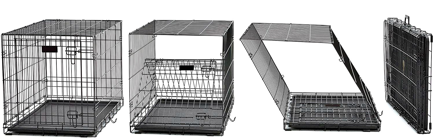 "Midwest dog crates set up easily in seconds simply by ""unfolding"" the metal cage walls."