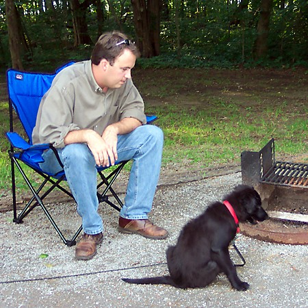 Mike introducing the rules of camping to Destin.