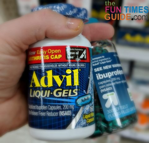 Advil and Ibuprofen come in many forms. Here are 2 different bottles of the fast-acting liquigels like my dog ate.
