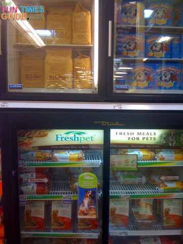 A closeup of the pet food refrigerator in my local Kroger store. It's located in the pet food aisle.