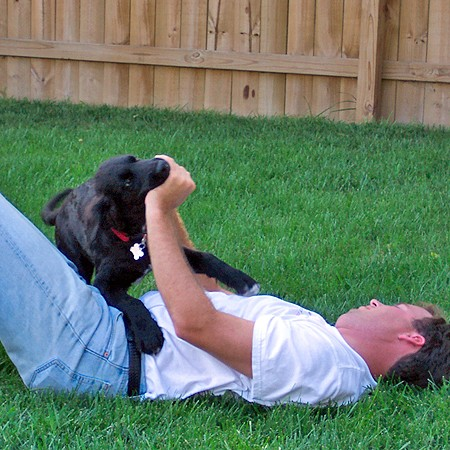Destin playing rough with Mike in the backyard.