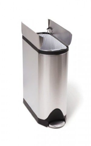 The absolute best trash can to keep dogs out of the garbage is this Simplehuman butterfly lid trash can. It's definitely one of the best gifts for dog lovers to use in their home.
