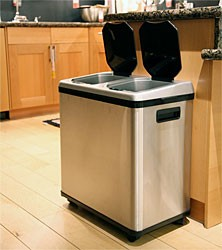 A stainless steel touchless garbage can with 2 bins -- perfect for recycling!